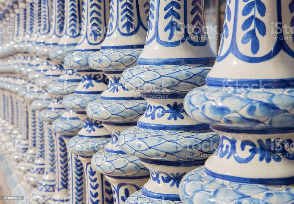Seville - ceramic tiled balustrade of the Plaza de Espana. stock photo