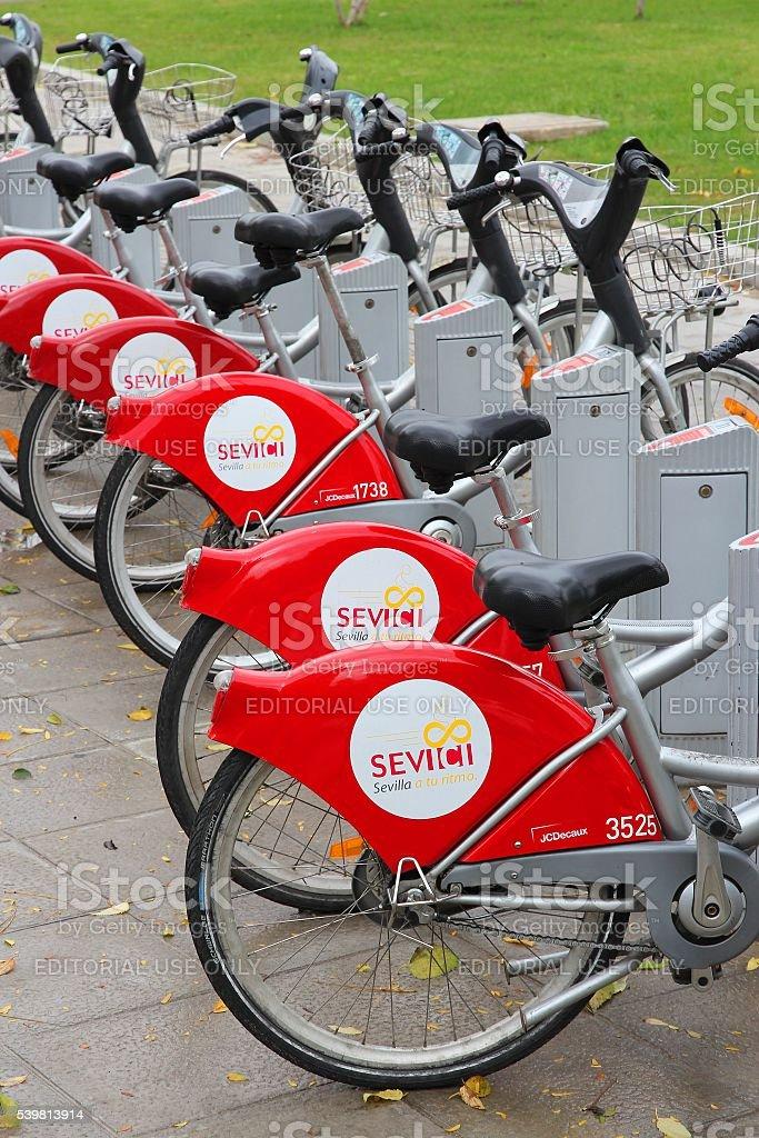 Seville community bicycles stock photo