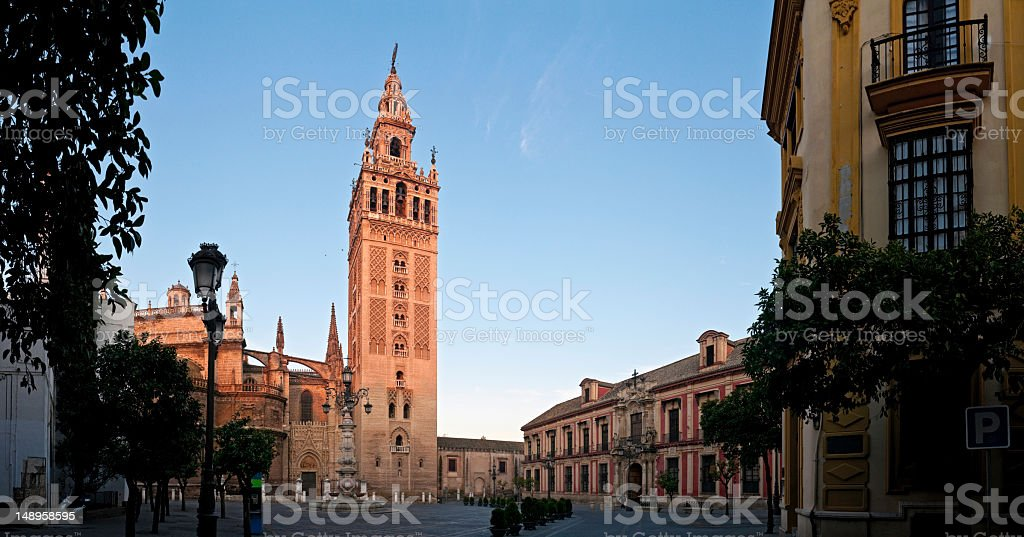 Seville dawn on La Giralda royalty-free stock photo