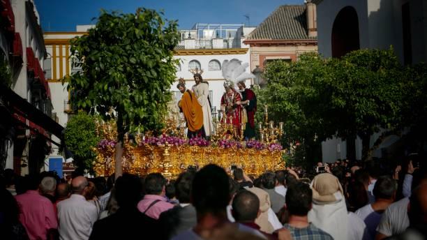 sevilla holly vecka - easter procession spain bildbanksfoton och bilder