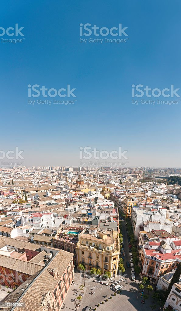 Seville piazzas streets roof terraces aerial view stock photo