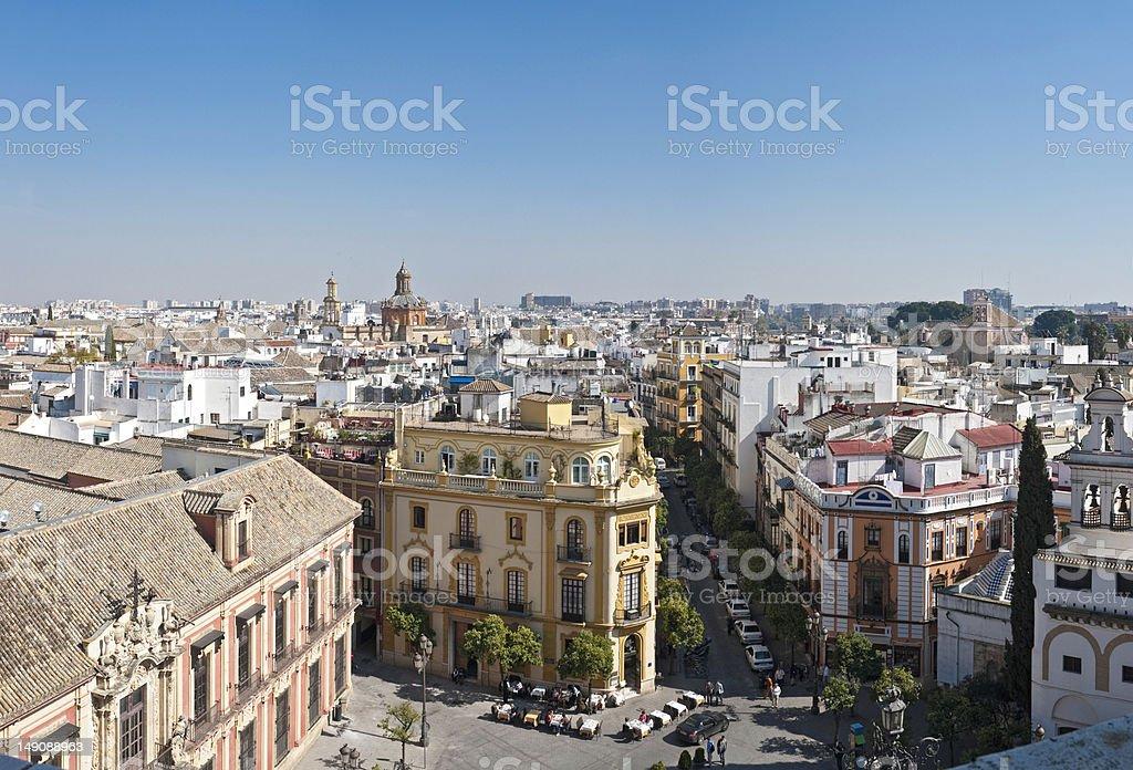 Seville plaza city life vista royalty-free stock photo