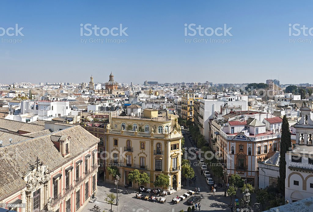Seville plaza city life vista stock photo