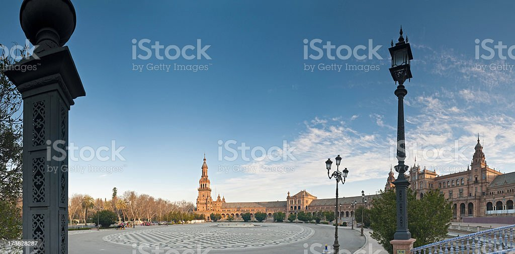 Seville Plaza de España sunrise royalty-free stock photo