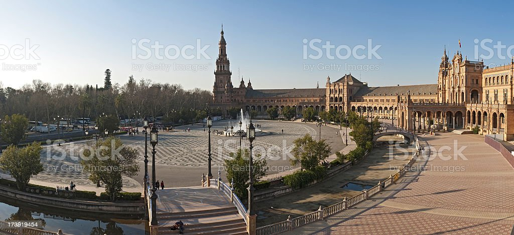 Seville Plaza de España warm sunlight Spain royalty-free stock photo