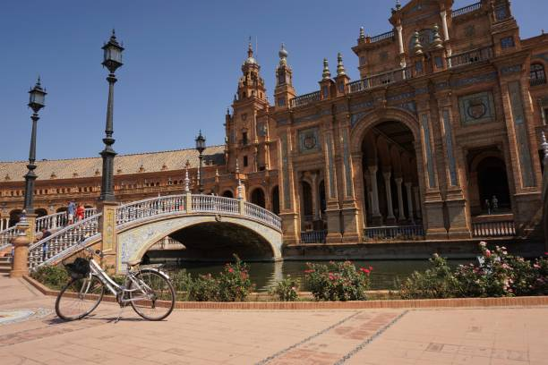 Seville - Plaza de Espana - bicycle stock photo