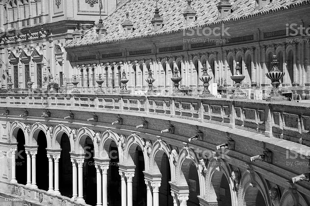 Seville, Plaza de Espana. Black and White. royalty-free stock photo
