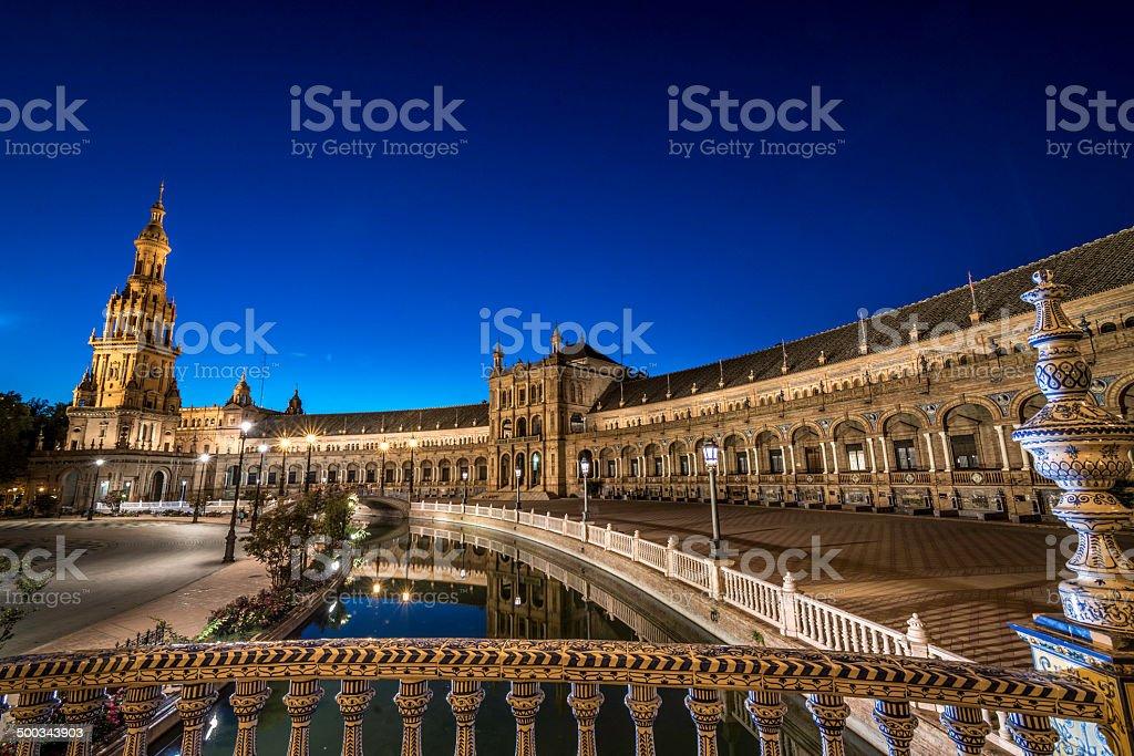 Seville, Plaza España at Night royalty-free stock photo