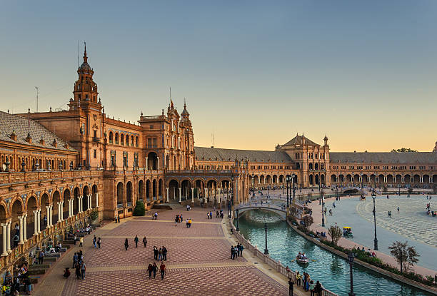 Seville Plaza Mayor Plaza Mayor de Sevilla al atardecer spain stock pictures, royalty-free photos & images