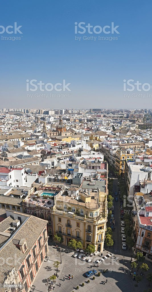 Seville plazas and rooftops vertical stock photo