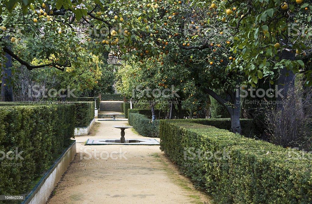Seville, Real Alcazar Gardens royalty-free stock photo