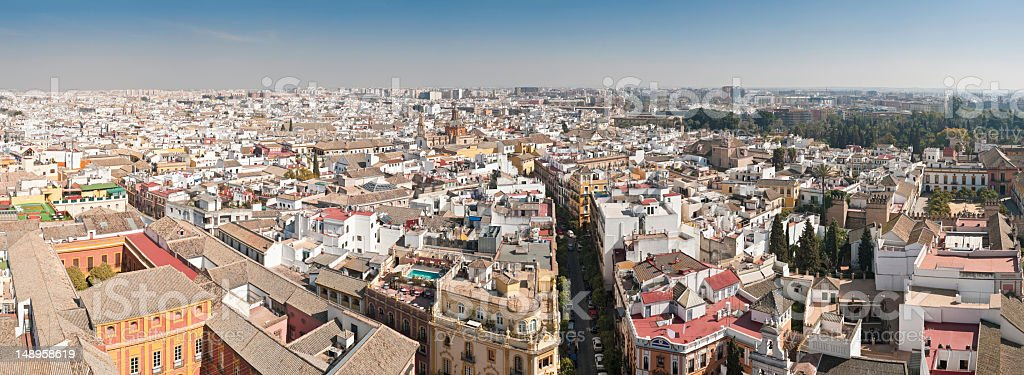 Seville rooftop cityscape panorama stock photo