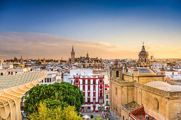 Seville Skyline Seville, Spain Old Quarter Skyline. seville stock pictures, royalty-free photos & images