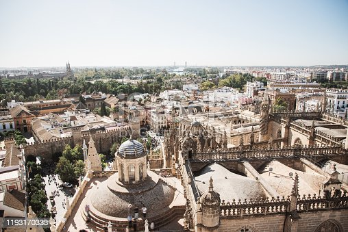 The city of Seville, Spain, as seen from above