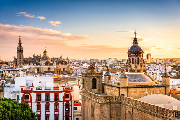 Seville, Spain Skyline Seville, Spain skyline in the Old Quarter. seville stock pictures, royalty-free photos & images