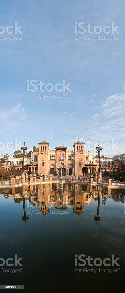 Seville sunrise Plaza de América vertical royalty-free stock photo