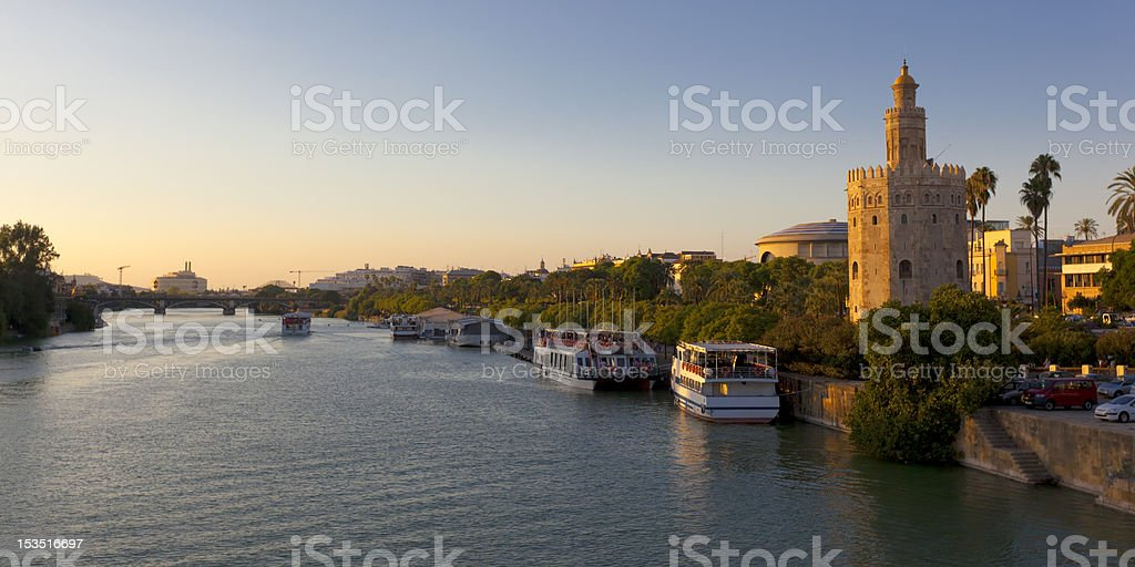 Seville Sunset Panorama Spain stock photo