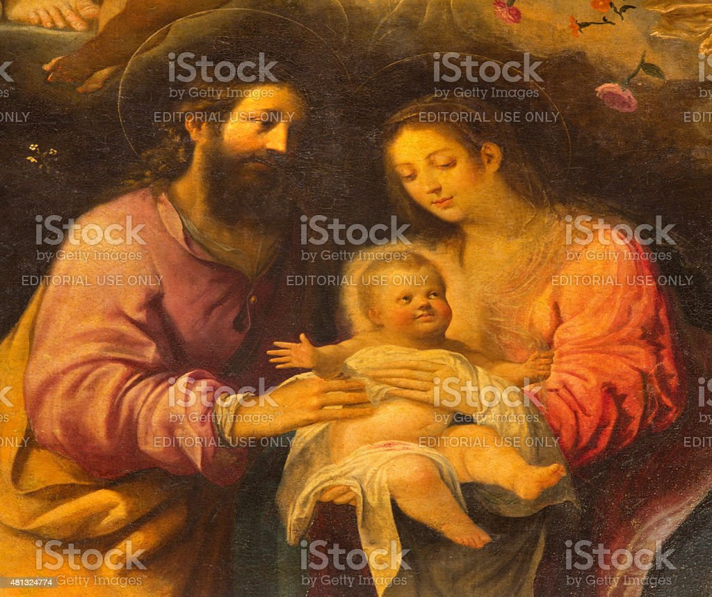 Seville - The detail of Holy Family painting stock photo