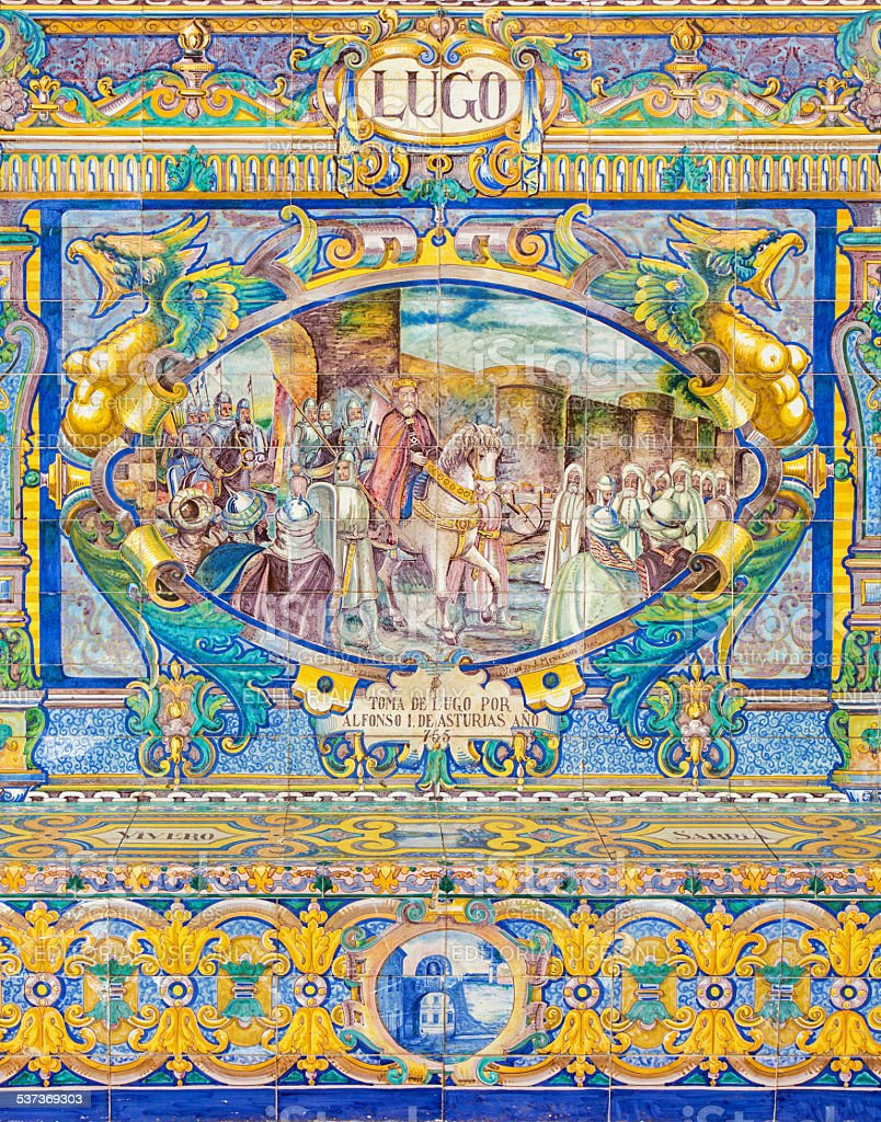 Seville - The Lugo province tiled on Plaza de Espana stock photo