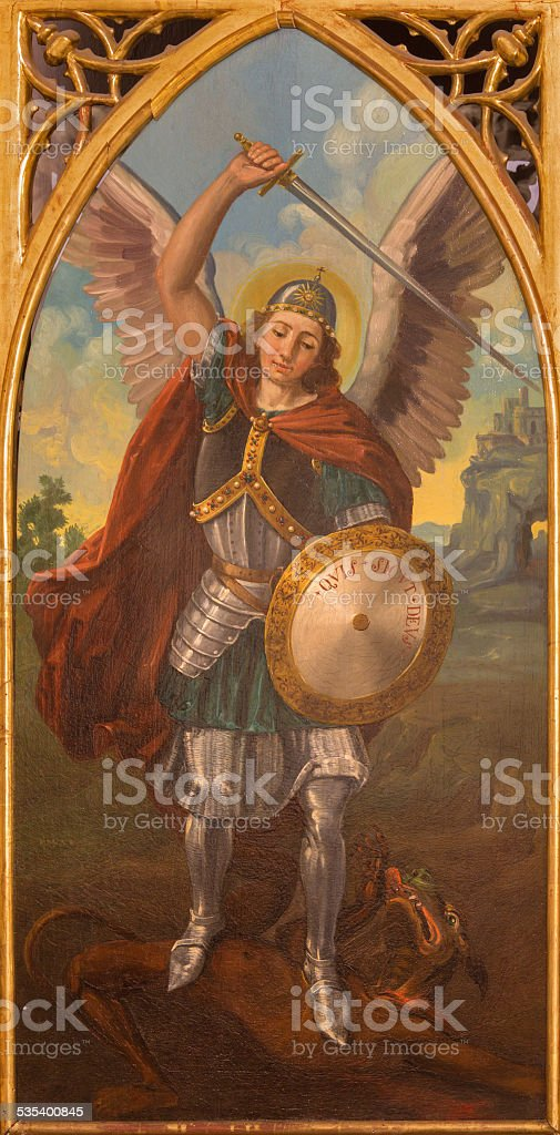Seville - The paint of archangel Michael stock photo