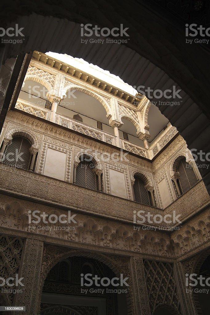Seville. The Royal Alcazar (Reales Alcazares). Patio de Las Doncellas royalty-free stock photo