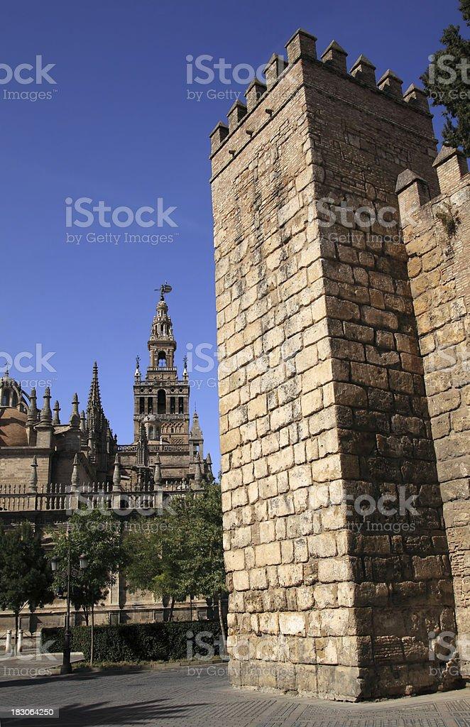 Seville (Sevilla). The Royal Alcazar (Reales Alcazares ). Walls royalty-free stock photo