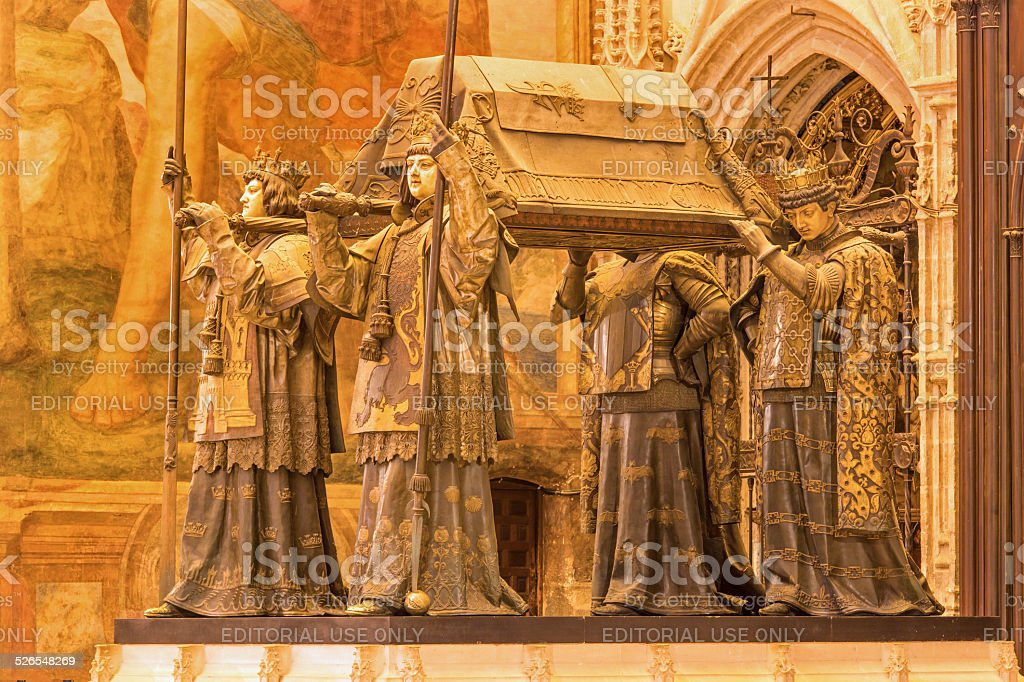 Seville - The tomb of Christopher Columbus in Cathedral stock photo