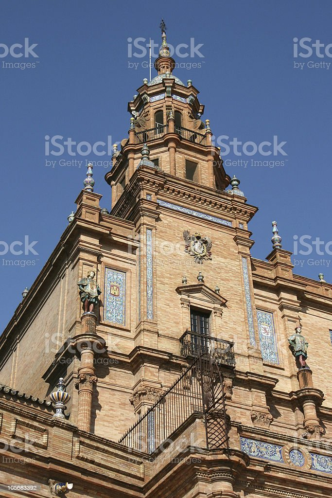 Seville - Tower detail of the Spanish Square royalty-free stock photo