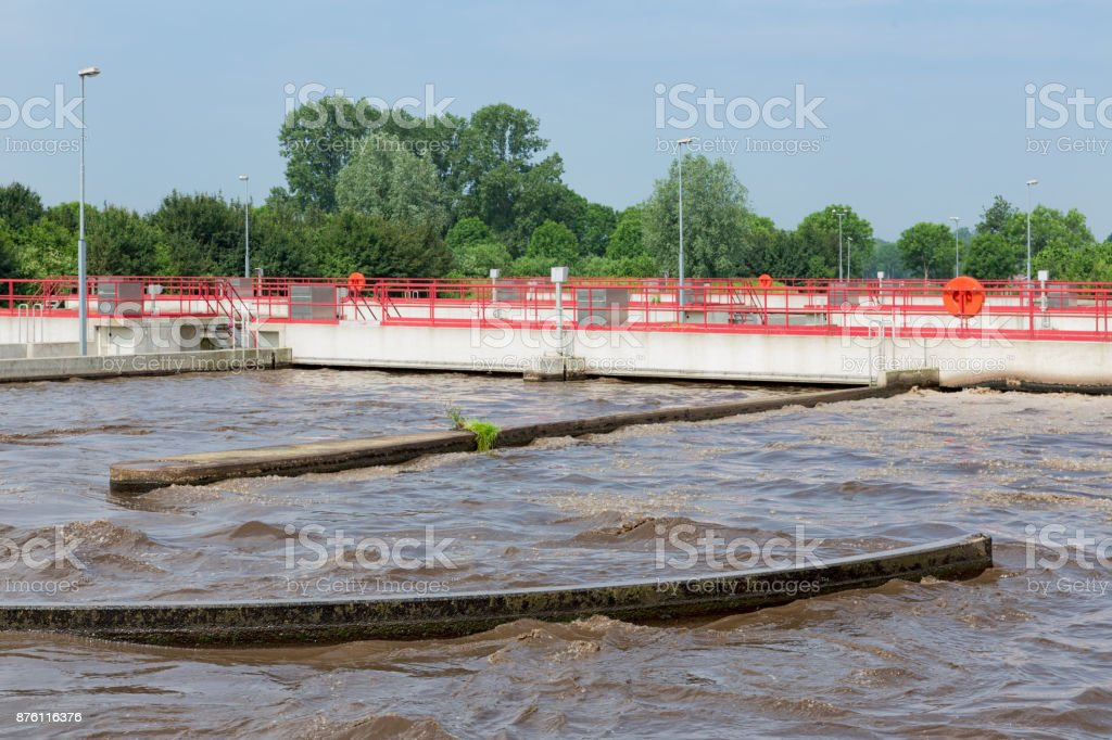 Sewage treatment, plant, aeration of the wastewater. stock photo