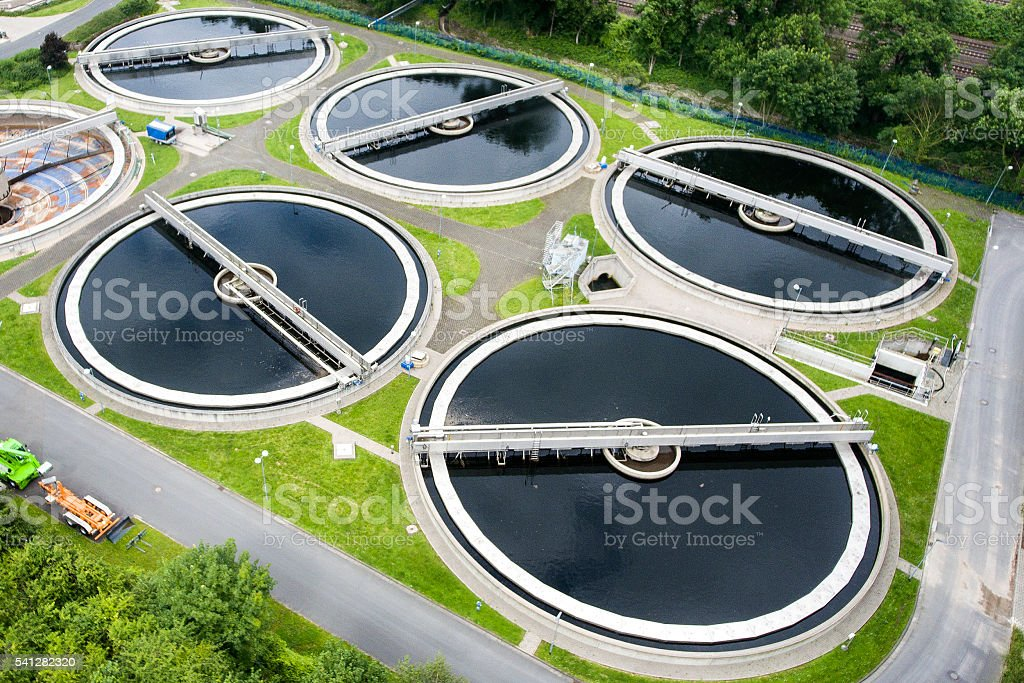 Sewage treatment plant - aerial view stock photo