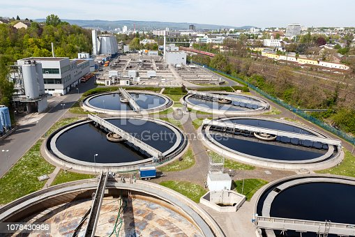 Sewage treatment plant - high-angle view