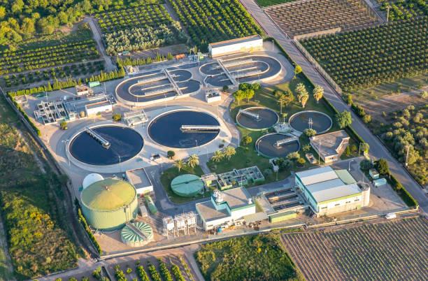 Sewage treatment plant stock photo