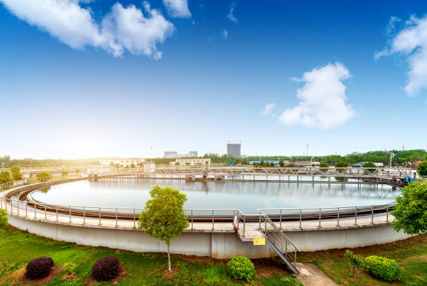 Sewage treatment plant Modern urban wastewater treatment plant. sewage stock pictures, royalty-free photos & images