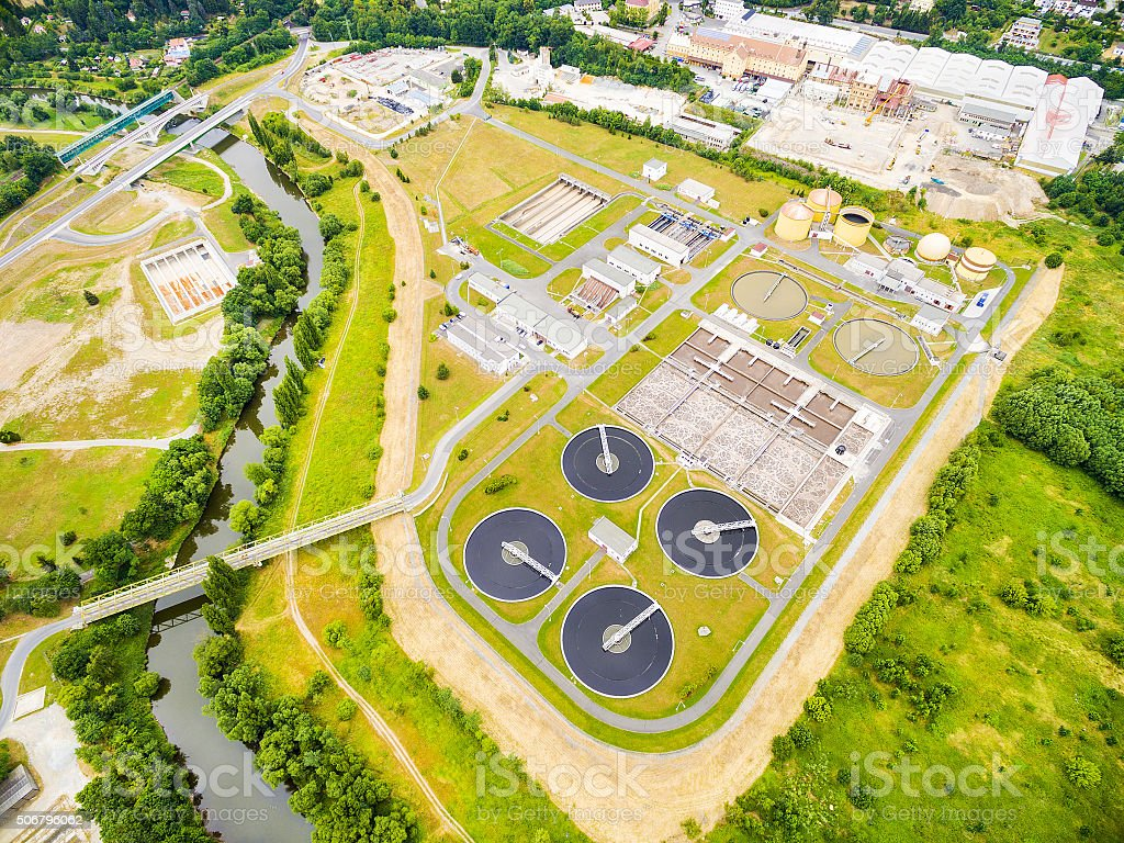 Sewage treatment plant. stock photo