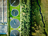 Aerial shot of sewage treatment plant placed near a river, Denmark.  Aerial view shot with drone.