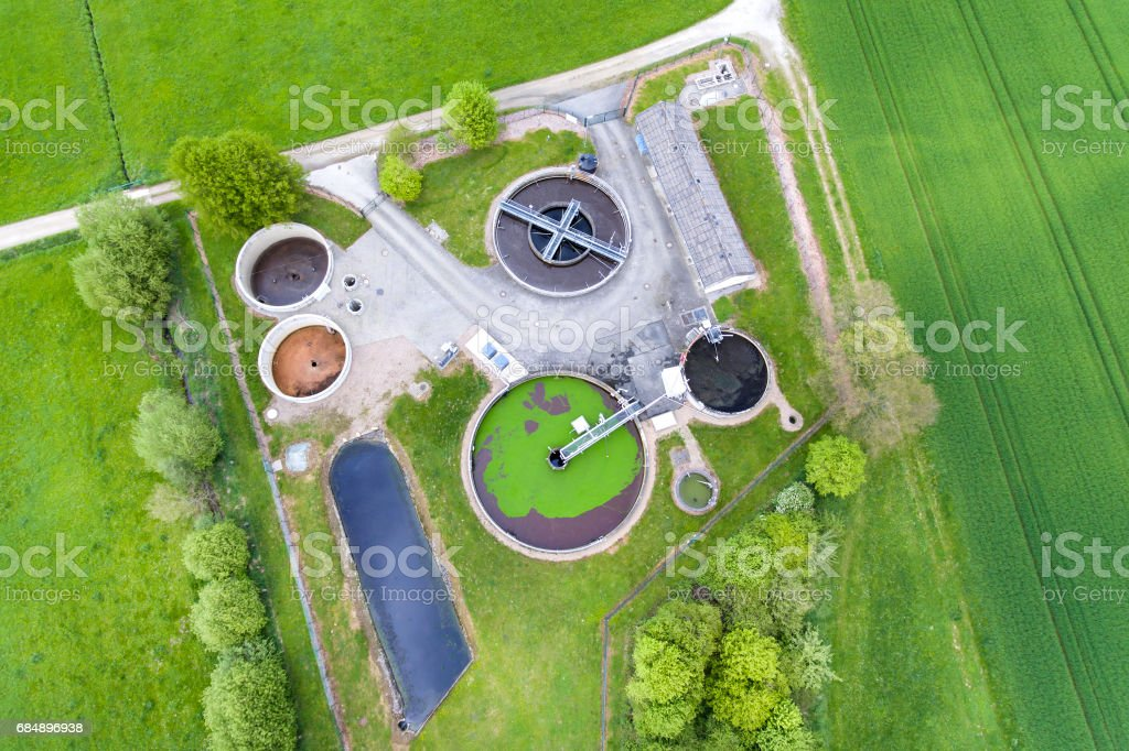 Sewage treatment plant - waste water purification Lizenzfreies stock-foto