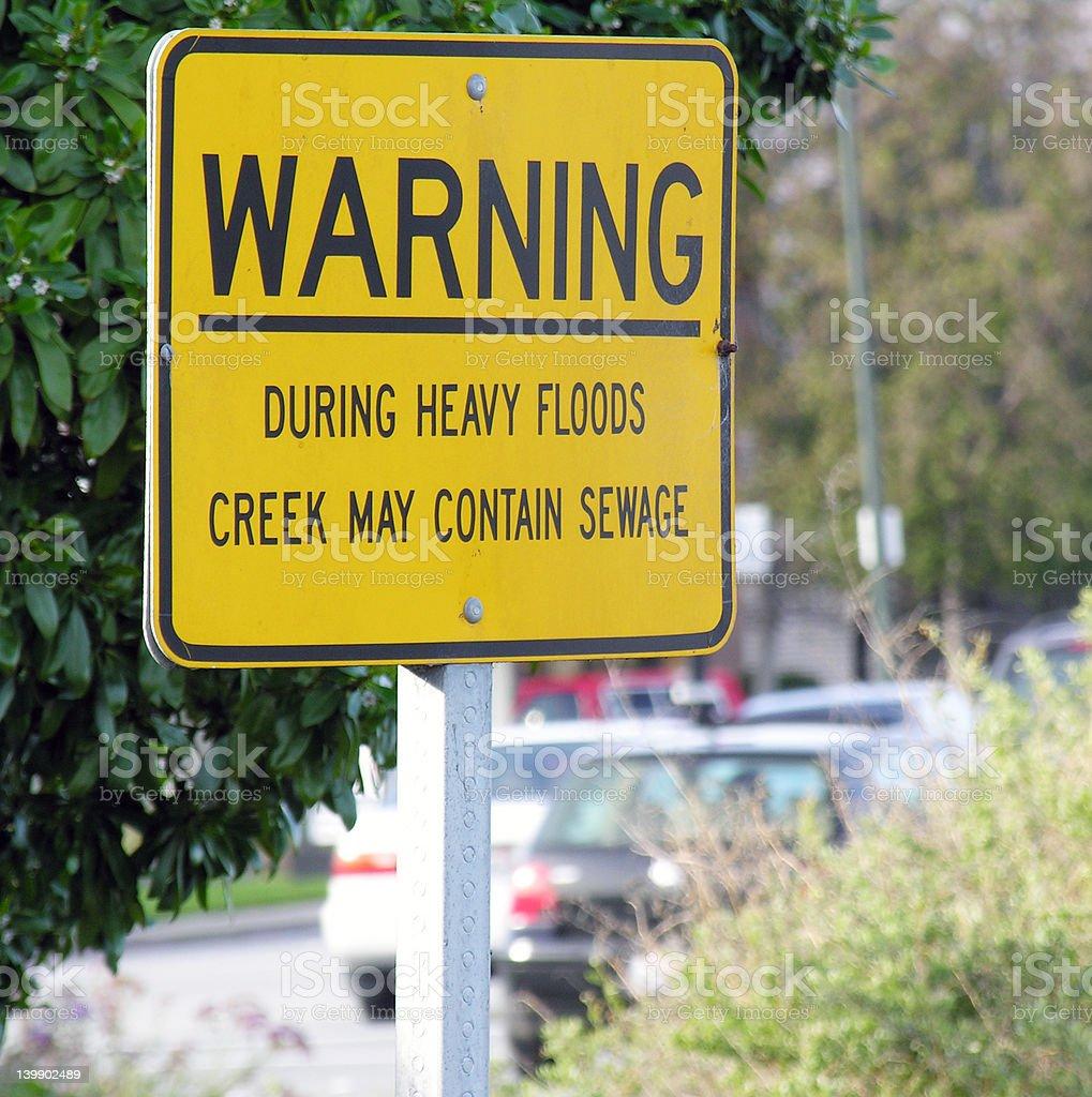 Sewage warning sign royalty-free stock photo