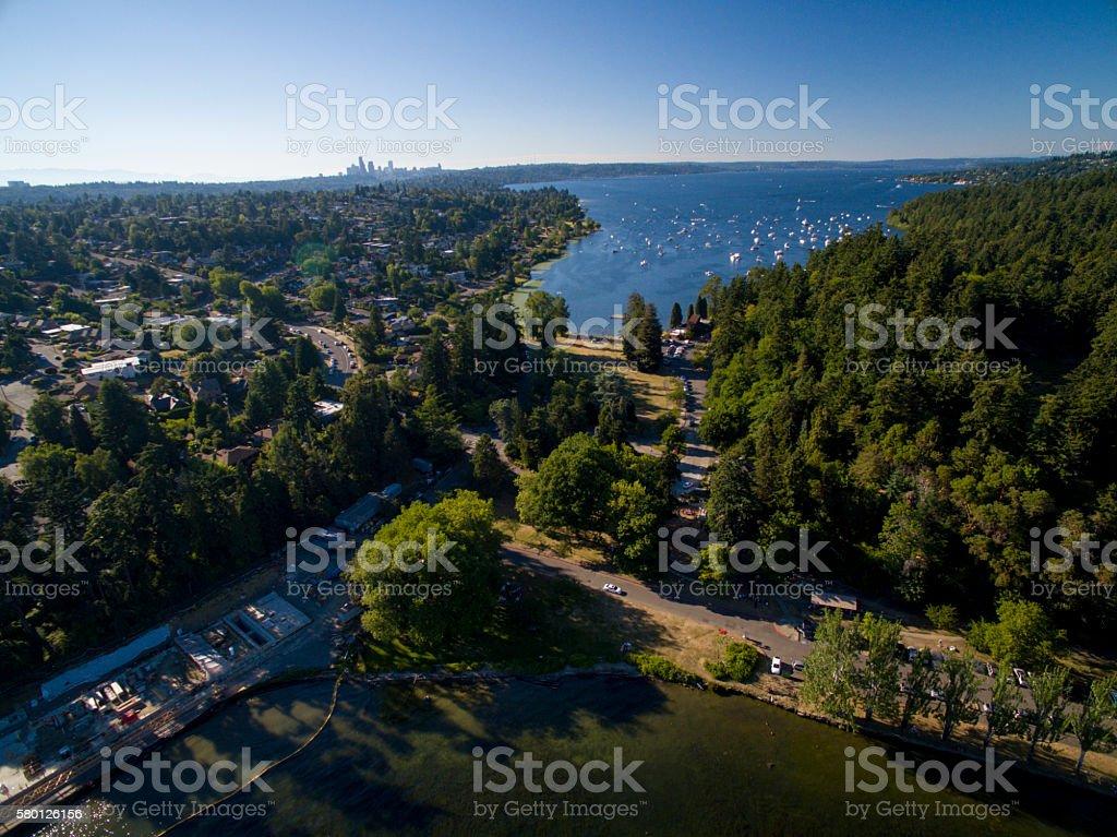 Seward Park, Shore Loop, Andrews Bay Bailey Peninsula Aerial View stock photo