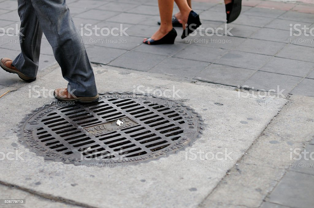 sewer drain cap. stock photo