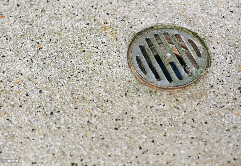 Sewer drain on the floor. stock photo