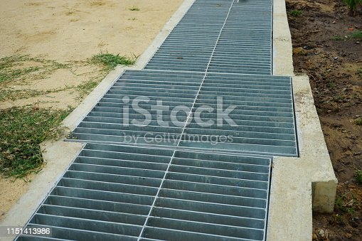 Metal Grate, Thailand, Drainage, Drain, Concrete, Sewer