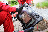 istock Sewer inspection with camera 1320271636