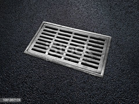 Iron sewer on asphalt