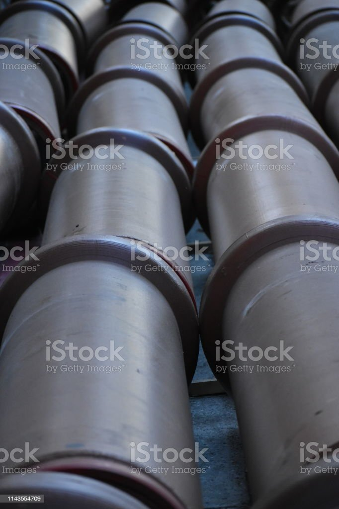 Sewer Pipes Ready to be Installed Close-up stock photo