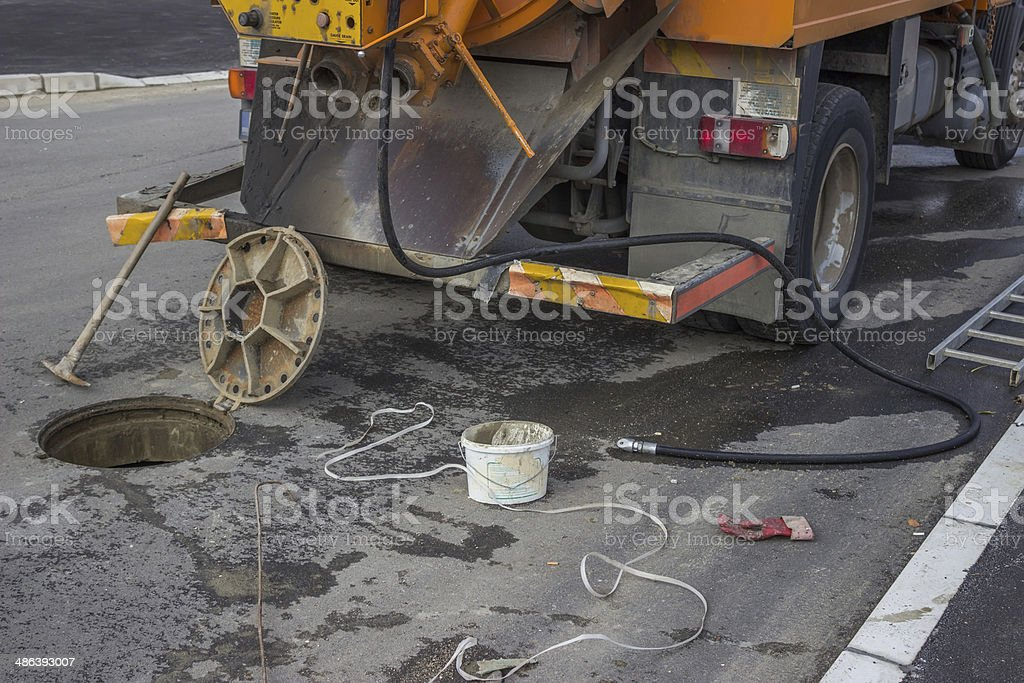 sewer tanker and equipment stock photo
