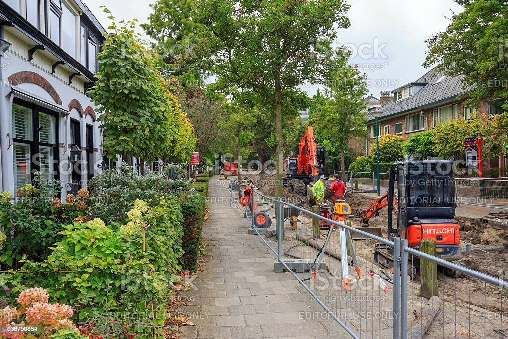 Sewerage works in residential area stock photo