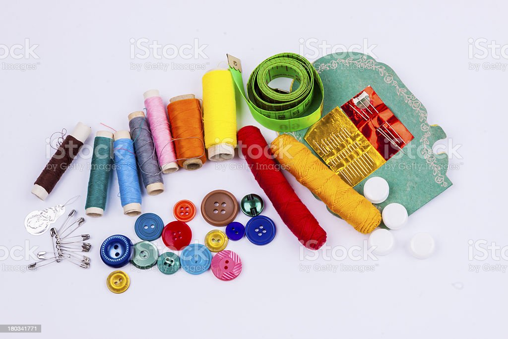 Sewing accessories on white background. royalty-free stock photo