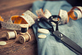 Sewing accessories on wooden