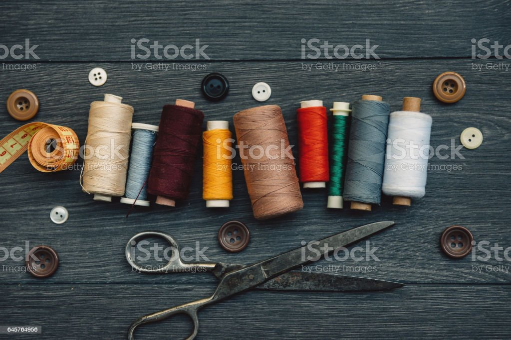Sewing and tailor-made clothing stock photo