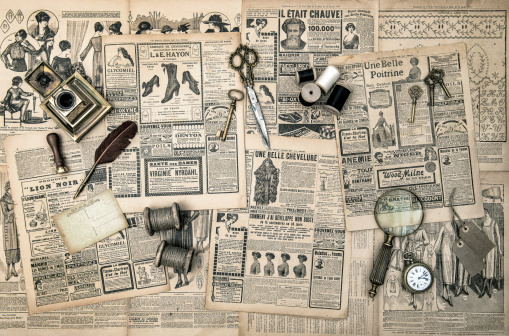 istock sewing and writing tools, vintage fashion magazine 497412713